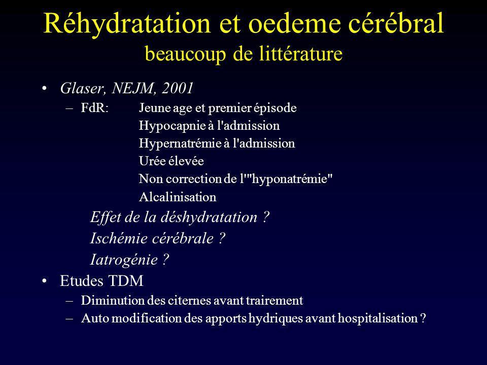 Réhydratation et oedeme cérébral beaucoup de littérature Glaser, NEJM, 2001 –FdR:Jeune age et premier épisode Hypocapnie à l'admission Hypernatrémie à