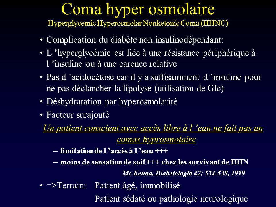 Coma hyper osmolaire Hyperglycemic Hyperosmolar Nonketonic Coma (HHNC) Complication du diabète non insulinodépendant: L hyperglycémie est liée à une r