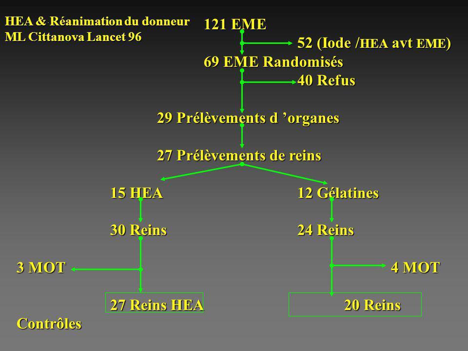 . 121 EME 52 (Iode / HEA avt EME ) 69 EME Randomisés 40 Refus 29 Prélèvements d organes 27 Prélèvements de reins 15 HEA 12 Gélatines 30 Reins24 Reins