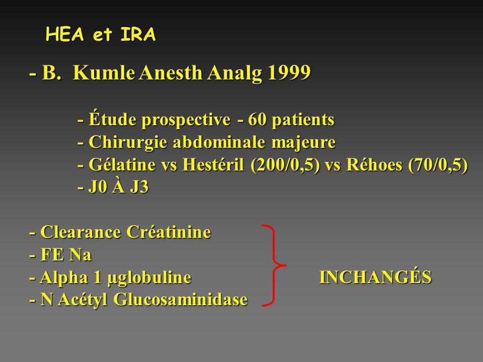 HEA et IRA - B. Kumle Anesth Analg 1999 - Étude prospective - 60 patients - Chirurgie abdominale majeure - Gélatine vs Hestéril (200/0,5) vs Réhoes (7