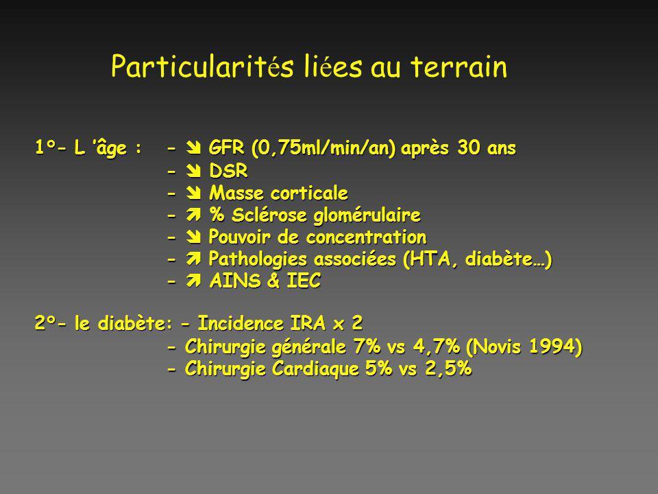 Particularit é s li é es au terrain 1°- L âge : - GFR (0,75ml/min/an) après 30 ans - DSR - Masse corticale - % Sclérose glomérulaire - Pouvoir de conc