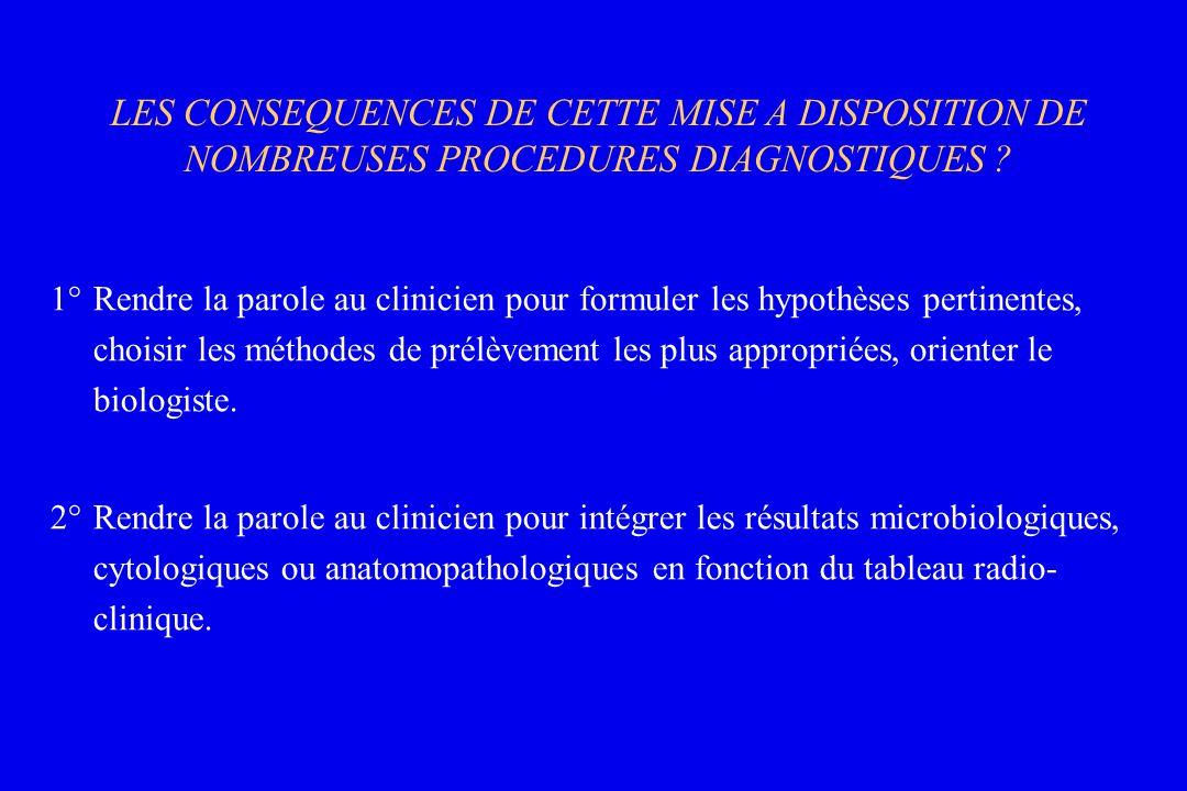 LES CONSEQUENCES DE CETTE MISE A DISPOSITION DE NOMBREUSES PROCEDURES DIAGNOSTIQUES ? 1°Rendre la parole au clinicien pour formuler les hypothèses per