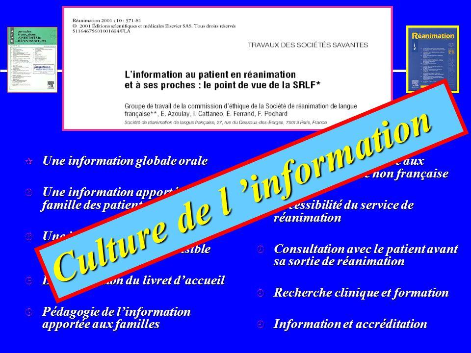 Ce que les familles souhaitent u Information personnalisée u Honnêteté et loyauté: u Équipe organisée ou l information circule –même médecins / IDE –p