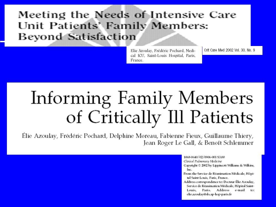 ¶ Une information globale orale · Une information apportée à la famille des patients hospitalisé ¸ Une information apportée par une équipe structurée