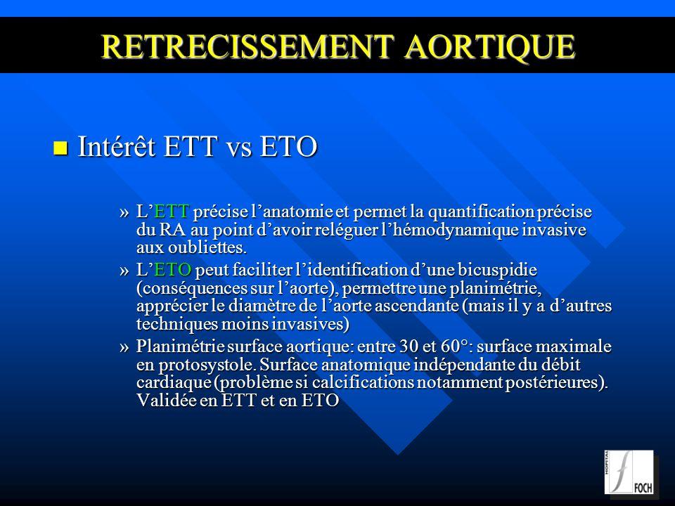 RETRECISSEMENT AORTIQUE Intérêt ETT vs ETO Intérêt ETT vs ETO »LETT précise lanatomie et permet la quantification précise du RA au point davoir reléguer lhémodynamique invasive aux oubliettes.