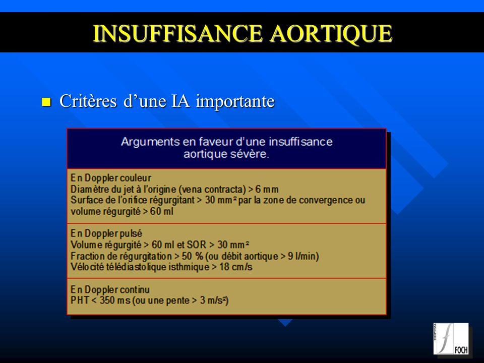 INSUFFISANCE AORTIQUE Critères dune IA importante Critères dune IA importante