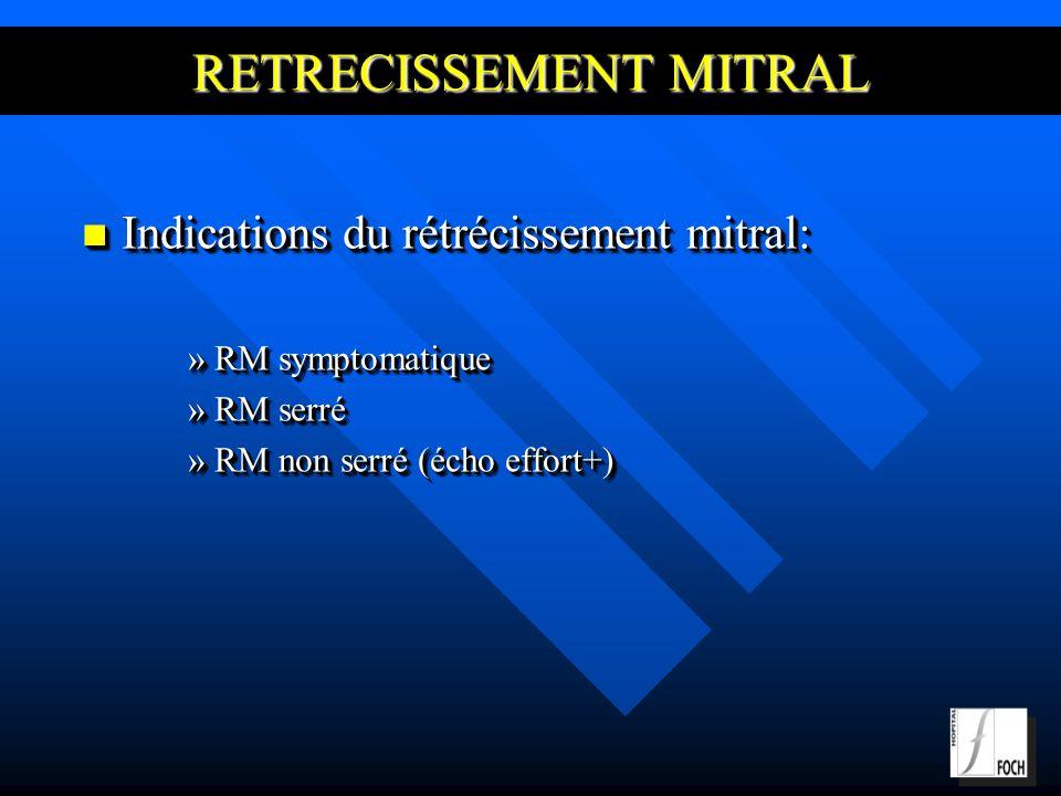 RETRECISSEMENT MITRAL Indications du rétrécissement mitral: Indications du rétrécissement mitral: »RM symptomatique »RM serré »RM non serré (écho effort+) Indications du rétrécissement mitral: Indications du rétrécissement mitral: »RM symptomatique »RM serré »RM non serré (écho effort+)