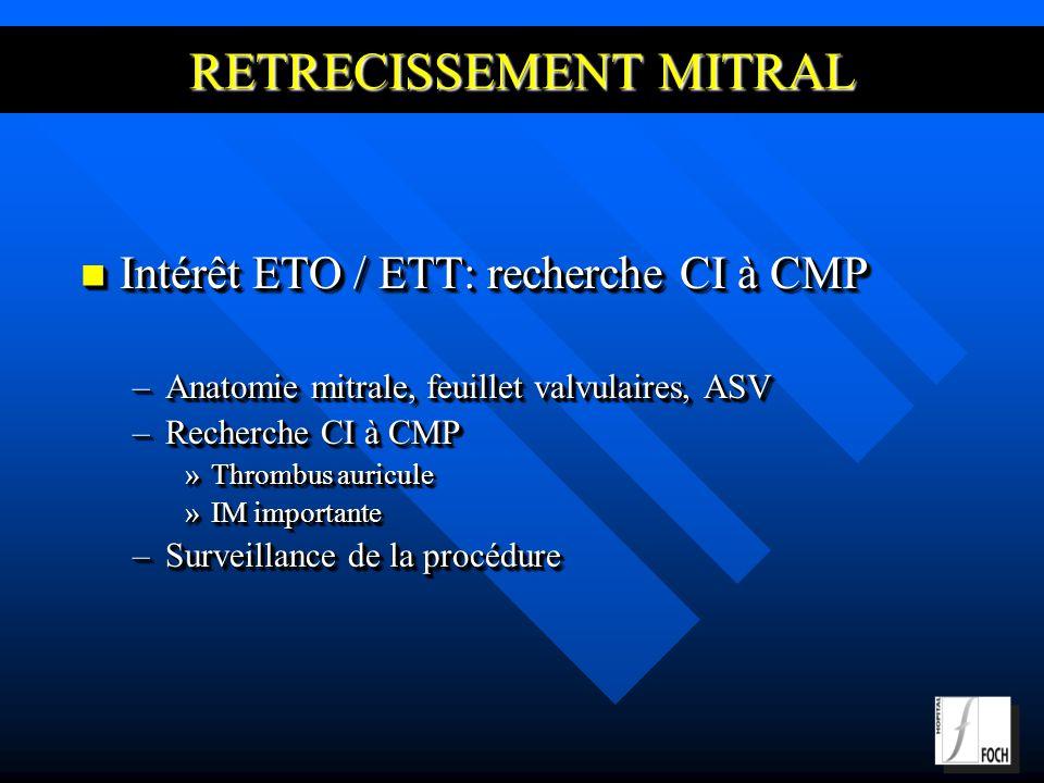 RETRECISSEMENT MITRAL Intérêt ETO / ETT: recherche CI à CMP Intérêt ETO / ETT: recherche CI à CMP –Anatomie mitrale, feuillet valvulaires, ASV –Recherche CI à CMP »Thrombus auricule »IM importante –Surveillance de la procédure Intérêt ETO / ETT: recherche CI à CMP Intérêt ETO / ETT: recherche CI à CMP –Anatomie mitrale, feuillet valvulaires, ASV –Recherche CI à CMP »Thrombus auricule »IM importante –Surveillance de la procédure