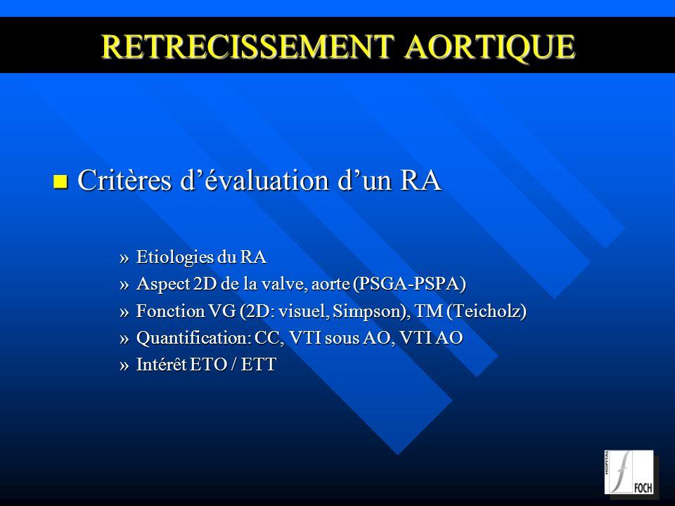 Critères dévaluation dun RA Critères dévaluation dun RA »Etiologies du RA »Aspect 2D de la valve, aorte (PSGA-PSPA) »Fonction VG (2D: visuel, Simpson), TM (Teicholz) »Quantification: CC, VTI sous AO, VTI AO »Intérêt ETO / ETT