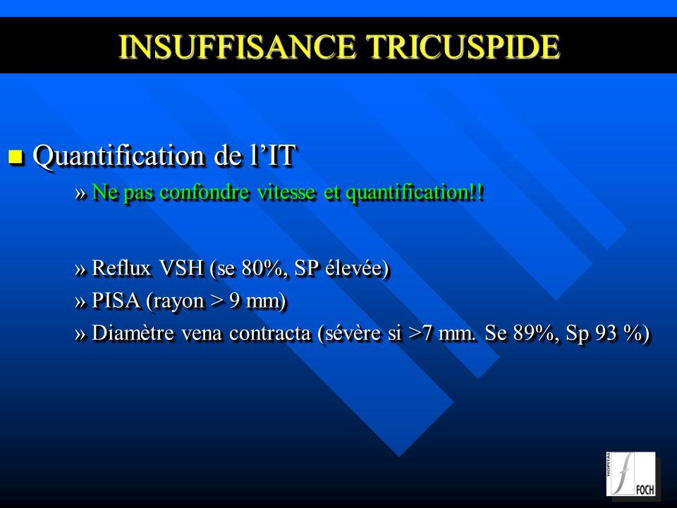 INSUFFISANCE TRICUSPIDE Quantification de lIT Quantification de lIT »Ne pas confondre vitesse et quantification!.