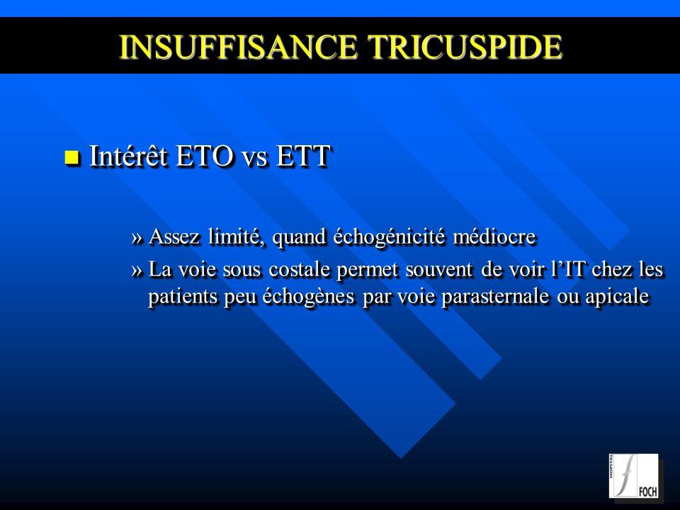 INSUFFISANCE TRICUSPIDE Intérêt ETO vs ETT Intérêt ETO vs ETT »Assez limité, quand échogénicité médiocre »La voie sous costale permet souvent de voir lIT chez les patients peu échogènes par voie parasternale ou apicale Intérêt ETO vs ETT Intérêt ETO vs ETT »Assez limité, quand échogénicité médiocre »La voie sous costale permet souvent de voir lIT chez les patients peu échogènes par voie parasternale ou apicale