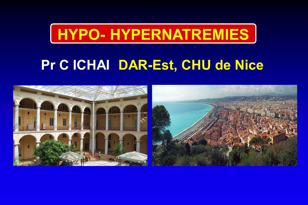 HYPONATREMIE ET TONICITE 1 - HypoNa + hypotonie = vraie hypoNa = hyperhydratation intra¢ 2 - HypoNa + isotonie = pseudohypoNa = hydratation intra¢ normale LECLIC 3 - HypoNa + hypertonie = fausse hypoNa déshydratation intra¢ insulinopénie Katz (N Eng J Med 1973) Nac = Na labo + (glyc x 0.3) Hillier (Am J Med 1999) Nac = Na labo + (glyc x 0.45) glucose