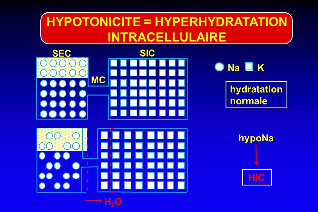Urée, méthanol, éthylène-glycol hydratation intra¢ normale osmoles inactives HYPERTONICITE HYPEROSMOLARITE hydratation normale SEC NaK SIC MC