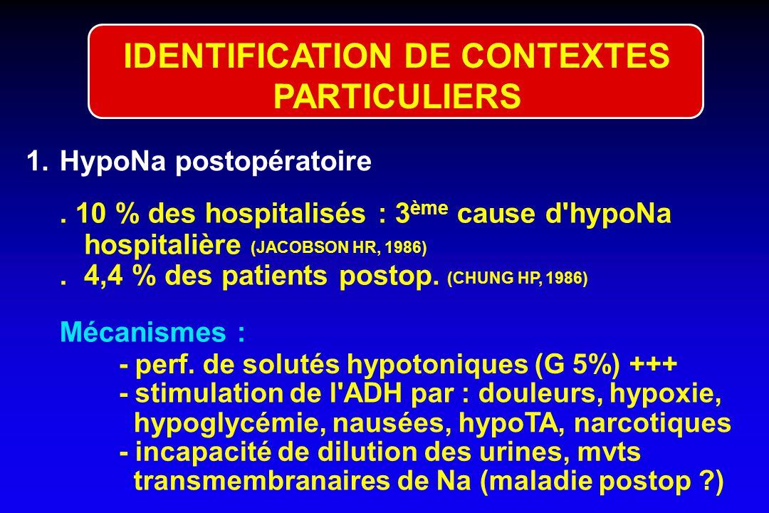 TYPES DE SIADH Relation entre [ADH] plasm. et Osm P aprés perfusion de salé hypertonique (Zerbe RZ et al, Am Rev Med 1990) 2 250260270280290300 Osm P