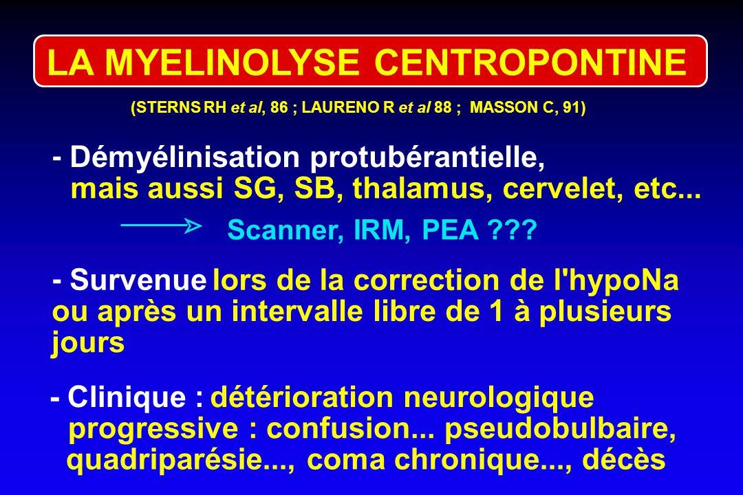 HYPONA : TRAITEMENT NON SPECIFIQUE 1. Restriction hydrique 2. Déméclocycline = correction lente chroniques asymptomatiques (< 800 ml) (600-1200 mg/j)