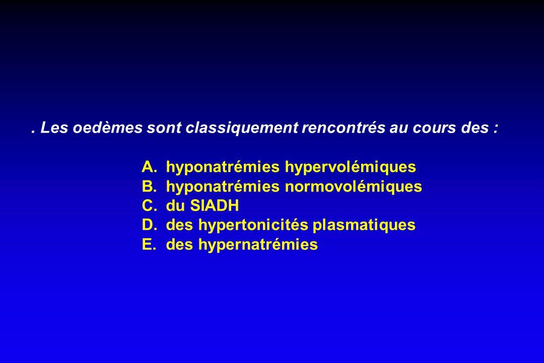 Les oedèmes sont classiquement rencontrés au cours des : A.