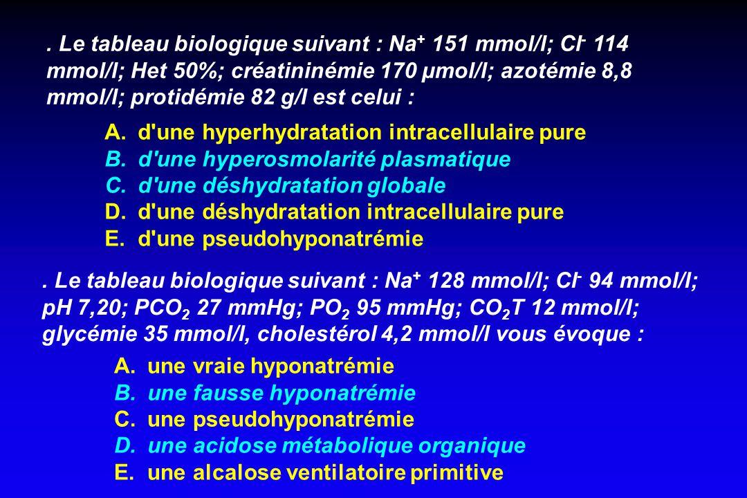 . La réhydratation d'une acidocétose diabétique s'effectue avec : A. des cristalloïdes type NaCl 0,9% ou 0,45% B. du Ringer-Lactate C. du glucosé à 10