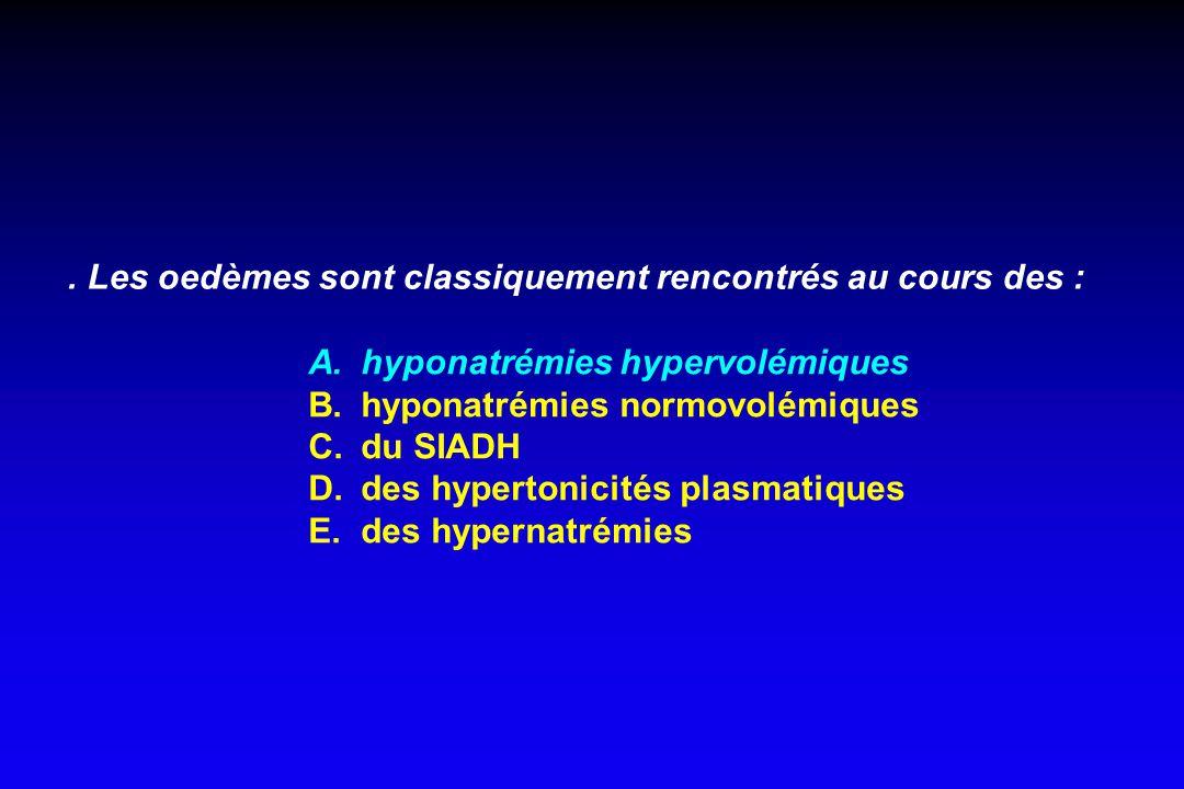 . Le tableau biologique suivant : Na + 151 mmol/l; Cl - 114 mmol/l; Het 50%; créatininémie 170 µmol/l; azotémie 8,8 mmol/l; protidémie 82 g/l est celu
