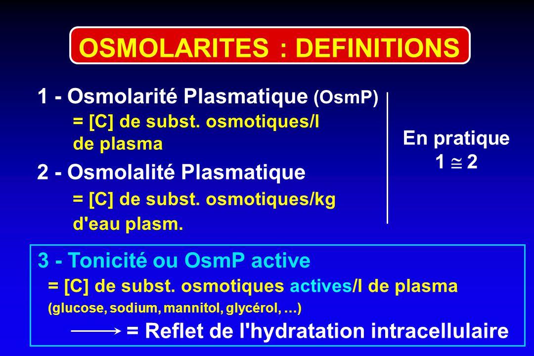 1 - Osmolarité Plasmatique (OsmP) = [C] de subst.osmotiques/l de plasma = [C] de subst.