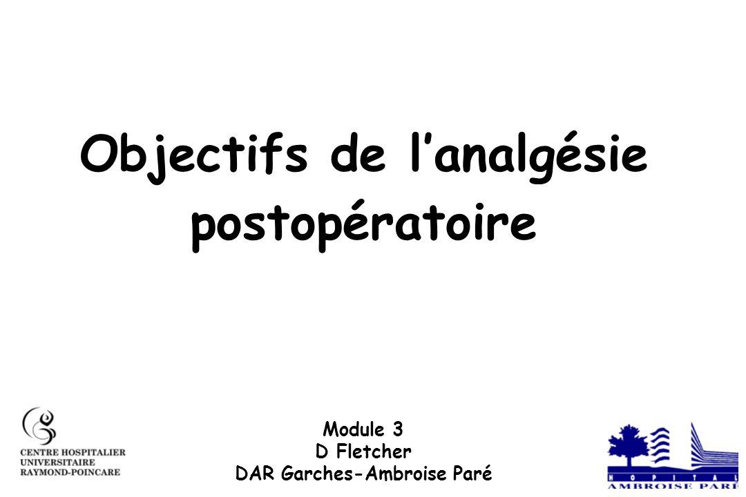 Objectifs de lanalgésie postopératoire Module 3 D Fletcher DAR Garches-Ambroise Paré