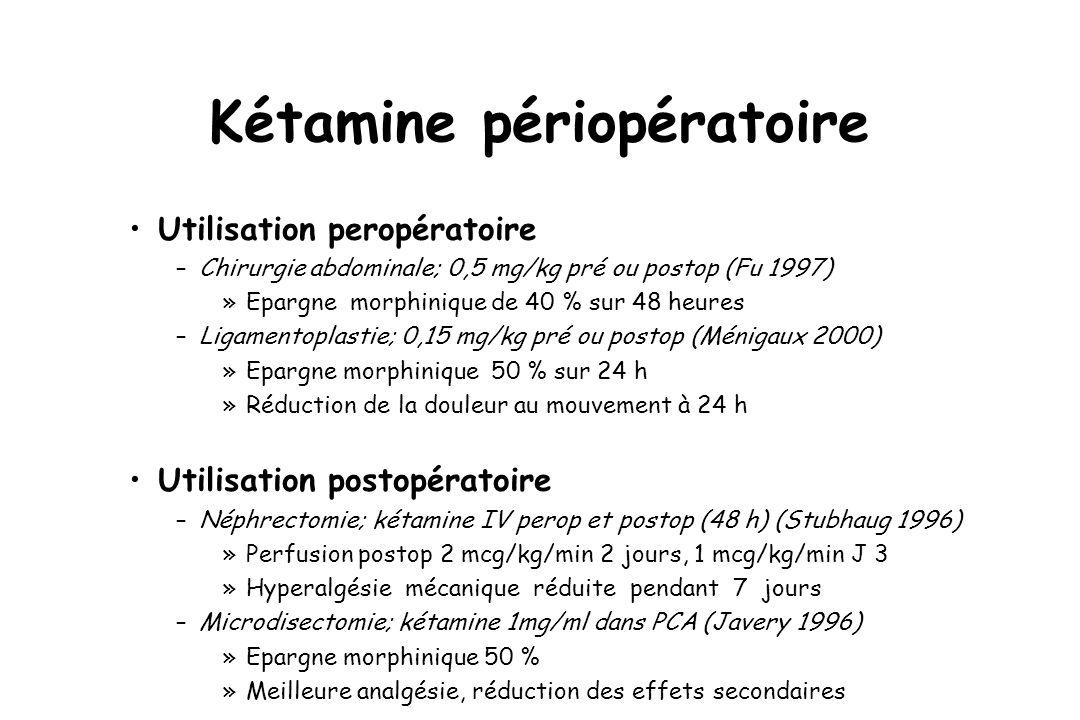 Kétamine périopératoire Utilisation peropératoire –Chirurgie abdominale; 0,5 mg/kg pré ou postop (Fu 1997) »Epargne morphinique de 40 % sur 48 heures –Ligamentoplastie; 0,15 mg/kg pré ou postop (Ménigaux 2000) »Epargne morphinique 50 % sur 24 h »Réduction de la douleur au mouvement à 24 h Utilisation postopératoire –Néphrectomie; kétamine IV perop et postop (48 h) (Stubhaug 1996) »Perfusion postop 2 mcg/kg/min 2 jours, 1 mcg/kg/min J 3 »Hyperalgésie mécanique réduite pendant 7 jours –Microdisectomie; kétamine 1mg/ml dans PCA (Javery 1996) »Epargne morphinique 50 % »Meilleure analgésie, réduction des effets secondaires