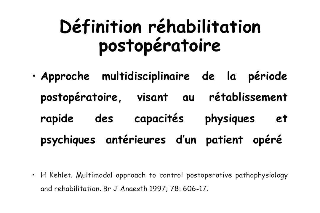 Définition réhabilitation postopératoire Approche multidisciplinaire de la période postopératoire, visant au rétablissement rapide des capacités physiques et psychiques antérieures dun patient opéré H Kehlet.