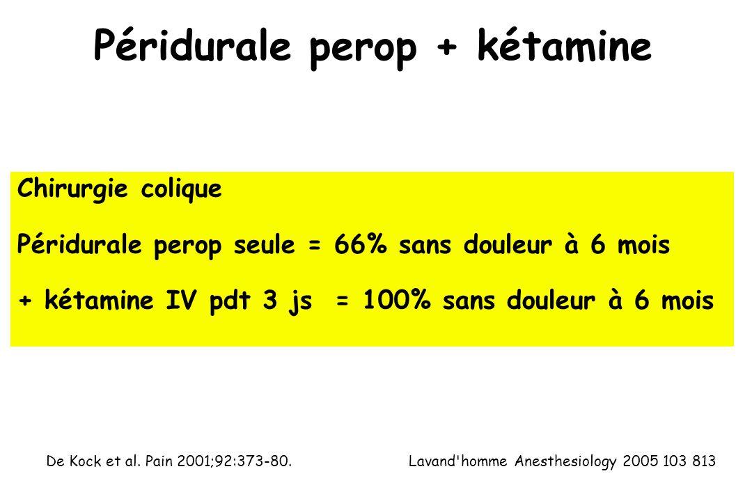 Péridurale perop + kétamine Lavand homme Anesthesiology 2005 103 813 Chirurgie colique Péridurale perop seule = 66% sans douleur à 6 mois + kétamine IV pdt 3 js = 100% sans douleur à 6 mois De Kock et al.