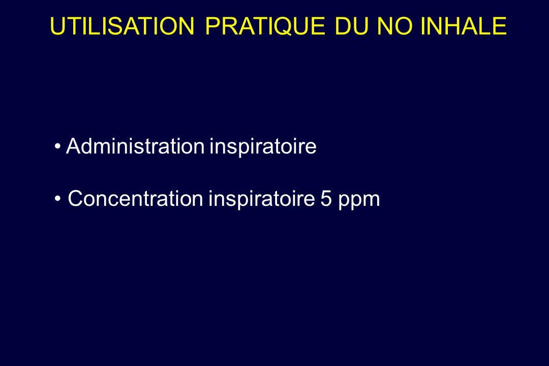UTILISATION PRATIQUE DU NO INHALE Administration inspiratoire Concentration inspiratoire 5 ppm