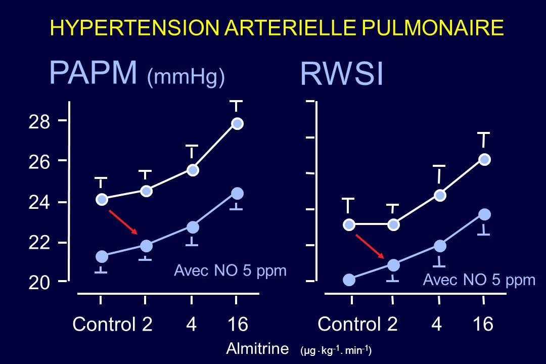 HYPERTENSION ARTERIELLE PULMONAIRE PAPM (mmHg) RWSI (µg Almitrine. kg.min ) 20 22 24 26 28 Control2416 Control2416 Avec NO 5 ppm
