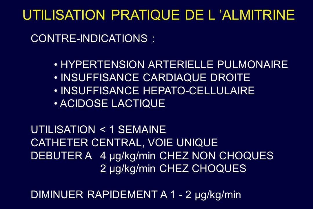 UTILISATION PRATIQUE DE L ALMITRINE CONTRE-INDICATIONS : HYPERTENSION ARTERIELLE PULMONAIRE INSUFFISANCE CARDIAQUE DROITE INSUFFISANCE HEPATO-CELLULAI