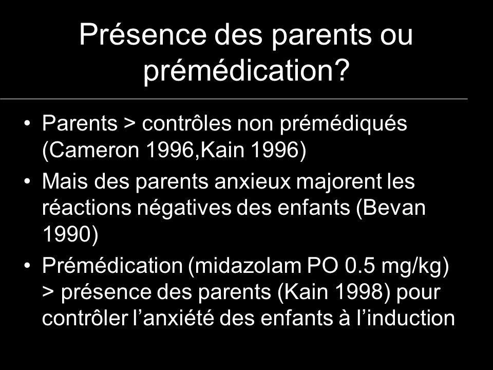 Présence des parents ou prémédication? Parents > contrôles non prémédiqués (Cameron 1996,Kain 1996) Mais des parents anxieux majorent les réactions né