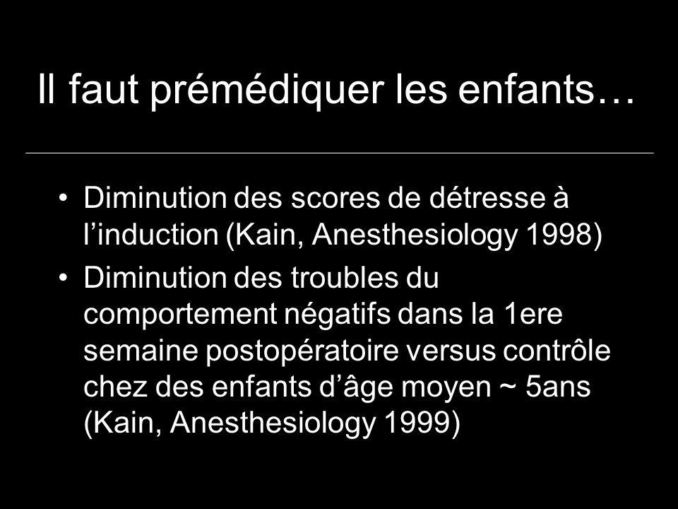 Il faut prémédiquer les enfants… Diminution des scores de détresse à linduction (Kain, Anesthesiology 1998) Diminution des troubles du comportement négatifs dans la 1ere semaine postopératoire versus contrôle chez des enfants dâge moyen ~ 5ans (Kain, Anesthesiology 1999)
