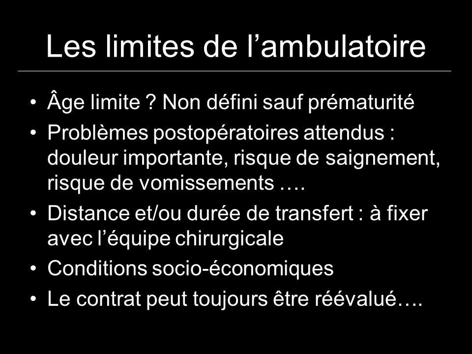 Les limites de lambulatoire Âge limite ? Non défini sauf prématurité Problèmes postopératoires attendus : douleur importante, risque de saignement, ri