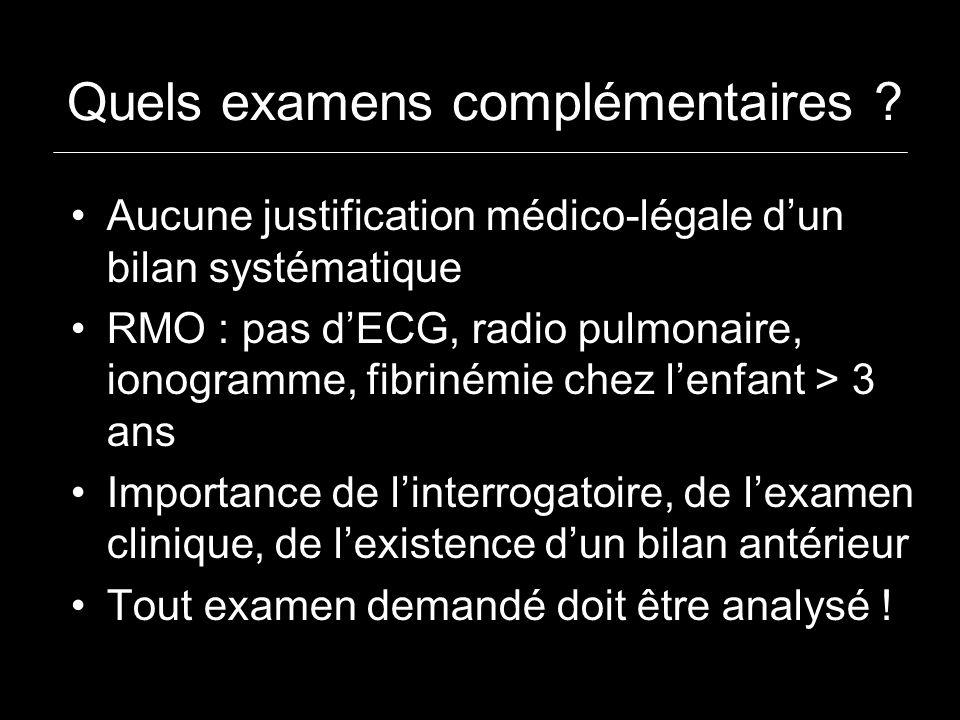 Quels examens complémentaires ? Aucune justification médico-légale dun bilan systématique RMO : pas dECG, radio pulmonaire, ionogramme, fibrinémie che