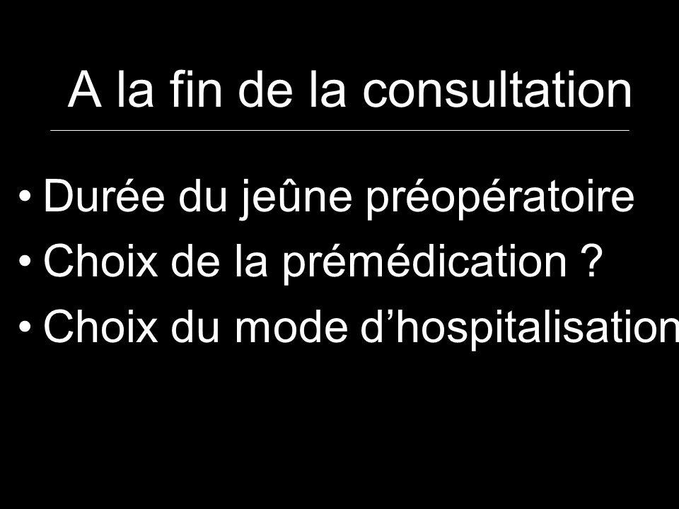 A la fin de la consultation Durée du jeûne préopératoire Choix de la prémédication ? Choix du mode dhospitalisation