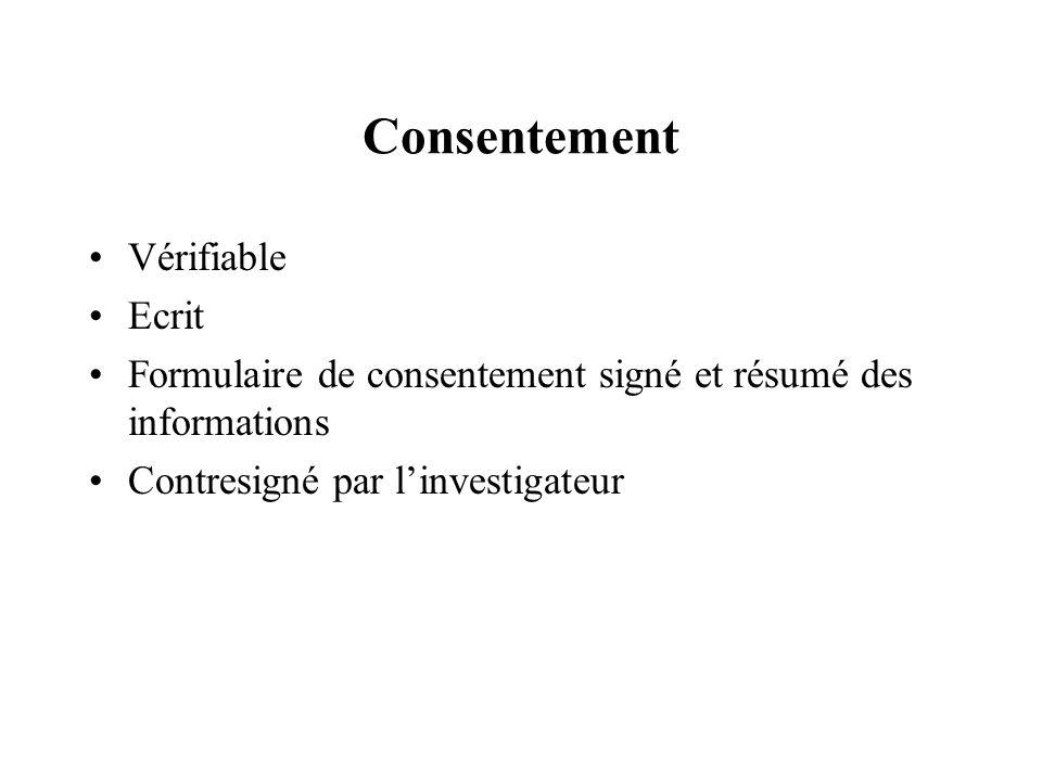 Consentement Vérifiable Ecrit Formulaire de consentement signé et résumé des informations Contresigné par linvestigateur