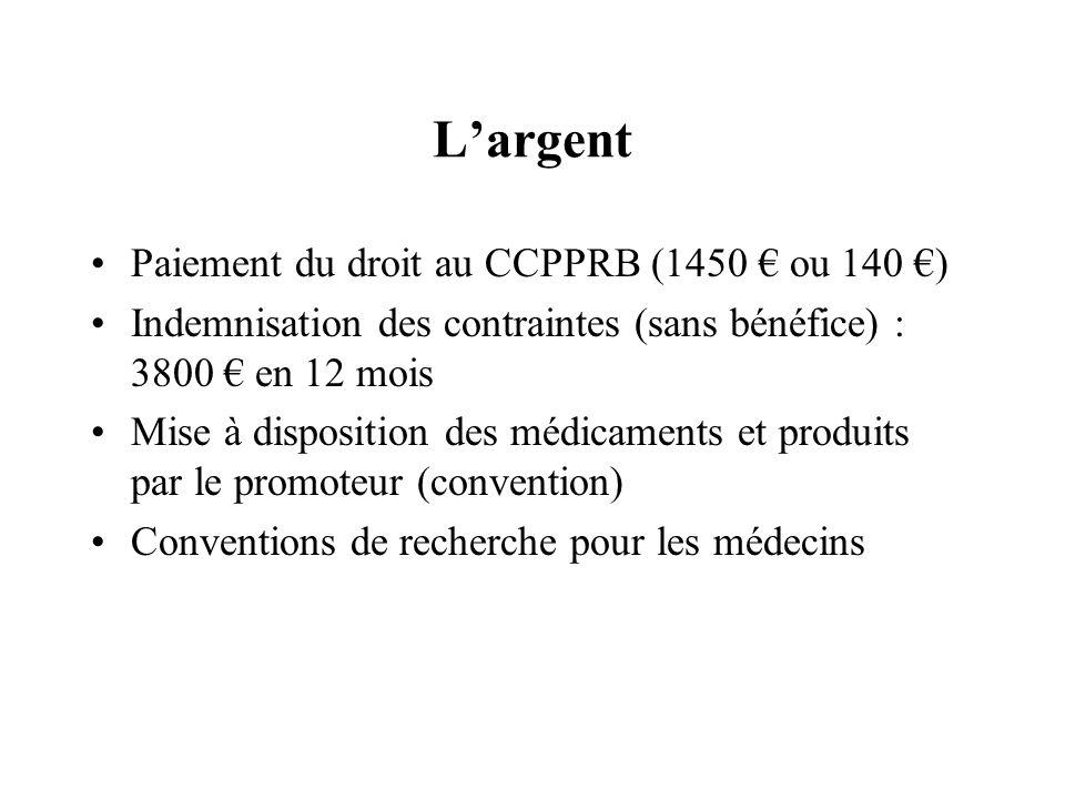 Largent Paiement du droit au CCPPRB (1450 ou 140 ) Indemnisation des contraintes (sans bénéfice) : 3800 en 12 mois Mise à disposition des médicaments et produits par le promoteur (convention) Conventions de recherche pour les médecins