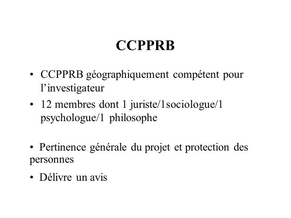 CCPPRB CCPPRB géographiquement compétent pour linvestigateur 12 membres dont 1 juriste/1sociologue/1 psychologue/1 philosophe Pertinence générale du projet et protection des personnes Délivre un avis