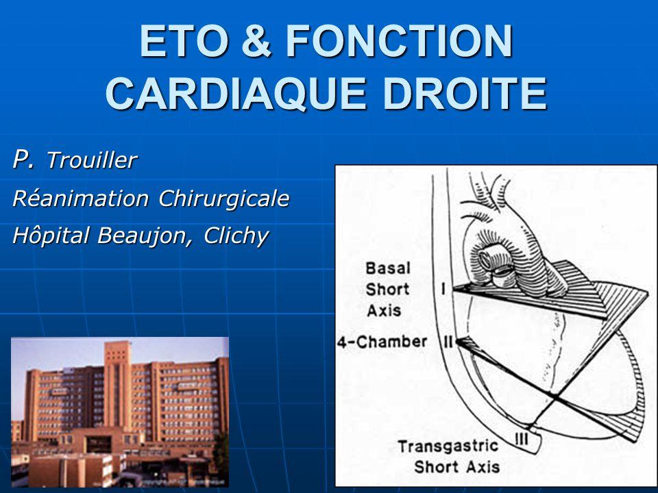ETO & FONCTION CARDIAQUE DROITE P. Trouiller Réanimation Chirurgicale Hôpital Beaujon, Clichy
