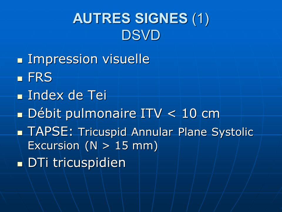 Impression visuelle Impression visuelle FRS FRS Index de Tei Index de Tei Débit pulmonaire ITV < 10 cm Débit pulmonaire ITV < 10 cm TAPSE: Tricuspid Annular Plane Systolic Excursion (N > 15 mm) TAPSE: Tricuspid Annular Plane Systolic Excursion (N > 15 mm) DTi tricuspidien DTi tricuspidien AUTRES SIGNES (1) DSVD