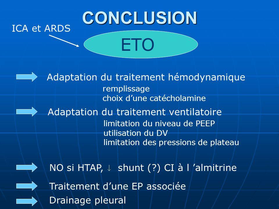 CONCLUSION ETO ICA et ARDS Adaptation du traitement hémodynamique remplissage choix dune catécholamine Adaptation du traitement ventilatoire limitation du niveau de PEEP utilisation du DV limitation des pressions de plateau Traitement dune EP associée Drainage pleural NO si HTAP, shunt (?) CI à l almitrine