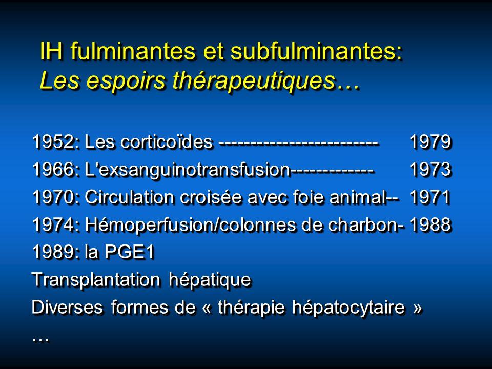 IH fulminantes et subfulminantes: Les espoirs thérapeutiques… 1952: Les corticoïdes -------------------------1979 1966: L'exsanguinotransfusion-------