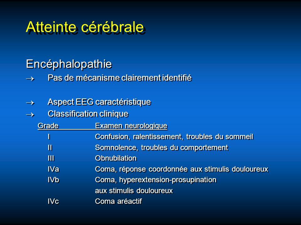Atteinte cérébrale Encéphalopathie Pas de mécanisme clairement identifié Aspect EEG caractéristique Classification clinique GradeExamen neurologique I