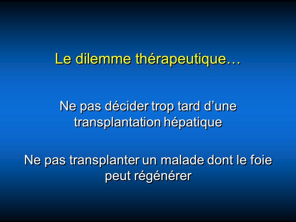 Le dilemme thérapeutique… Ne pas décider trop tard dune transplantation hépatique Ne pas transplanter un malade dont le foie peut régénérer Ne pas déc