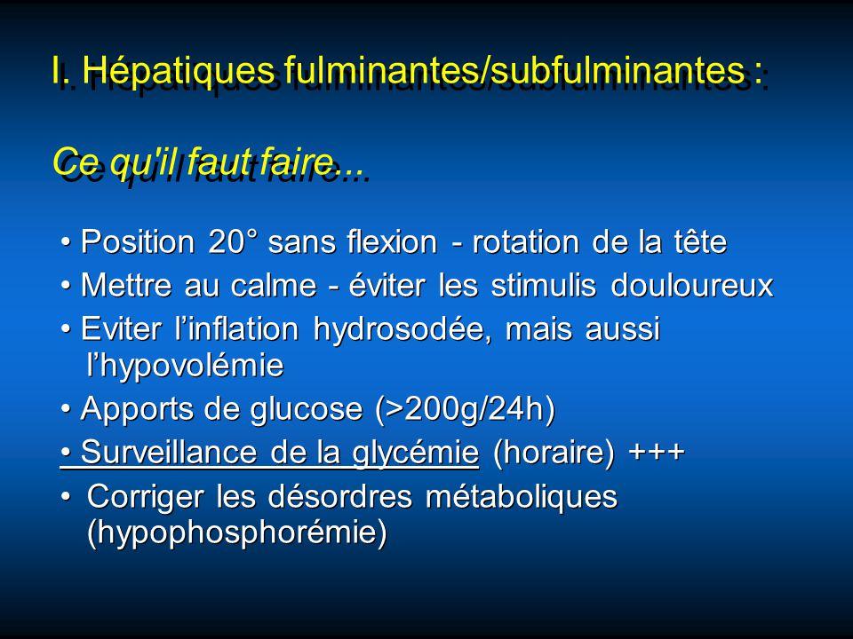 Position 20° sans flexion - rotation de la tête Mettre au calme - éviter les stimulis douloureux Eviter linflation hydrosodée, mais aussi lhypovolémie