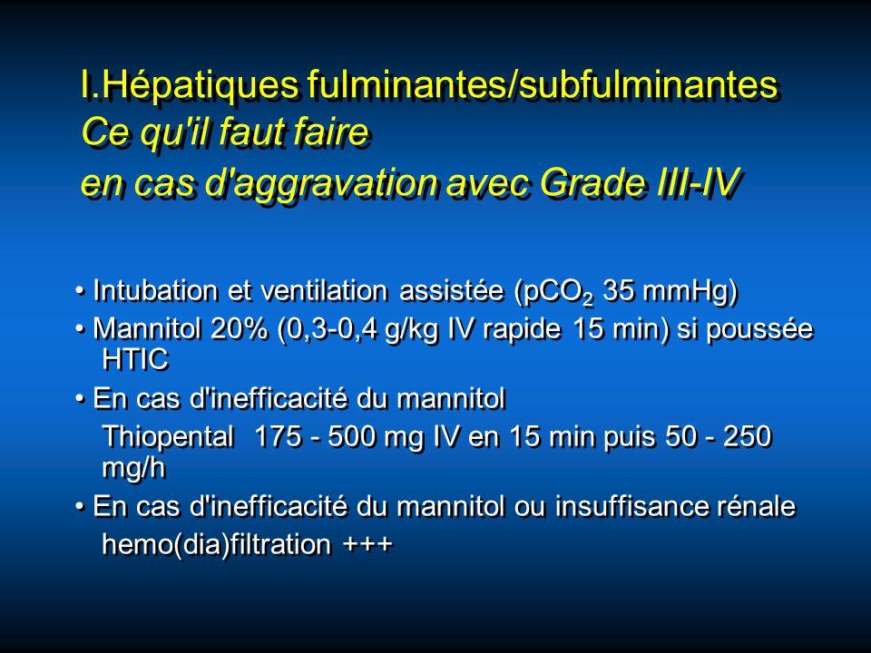 Intubation et ventilation assistée (pCO 2 35 mmHg) Mannitol 20% (0,3-0,4 g/kg IV rapide 15 min) si poussée HTIC En cas d'inefficacité du mannitol Thio