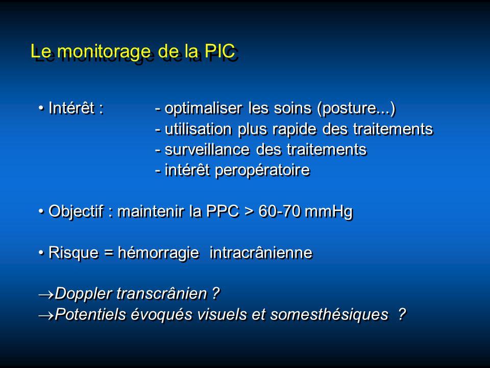 Le monitorage de la PIC Intérêt : - optimaliser les soins (posture...) - utilisation plus rapide des traitements - surveillance des traitements - inté