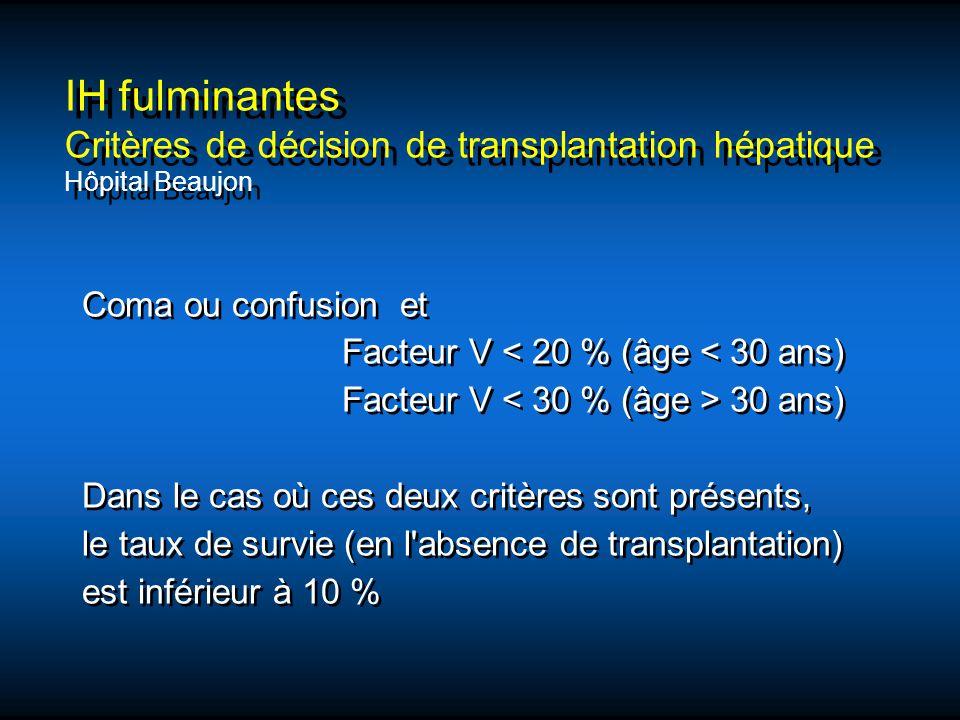 IH fulminantes Critères de décision de transplantation hépatique Hôpital Beaujon Coma ou confusion et Facteur V < 20 % (âge < 30 ans) Facteur V 30 ans