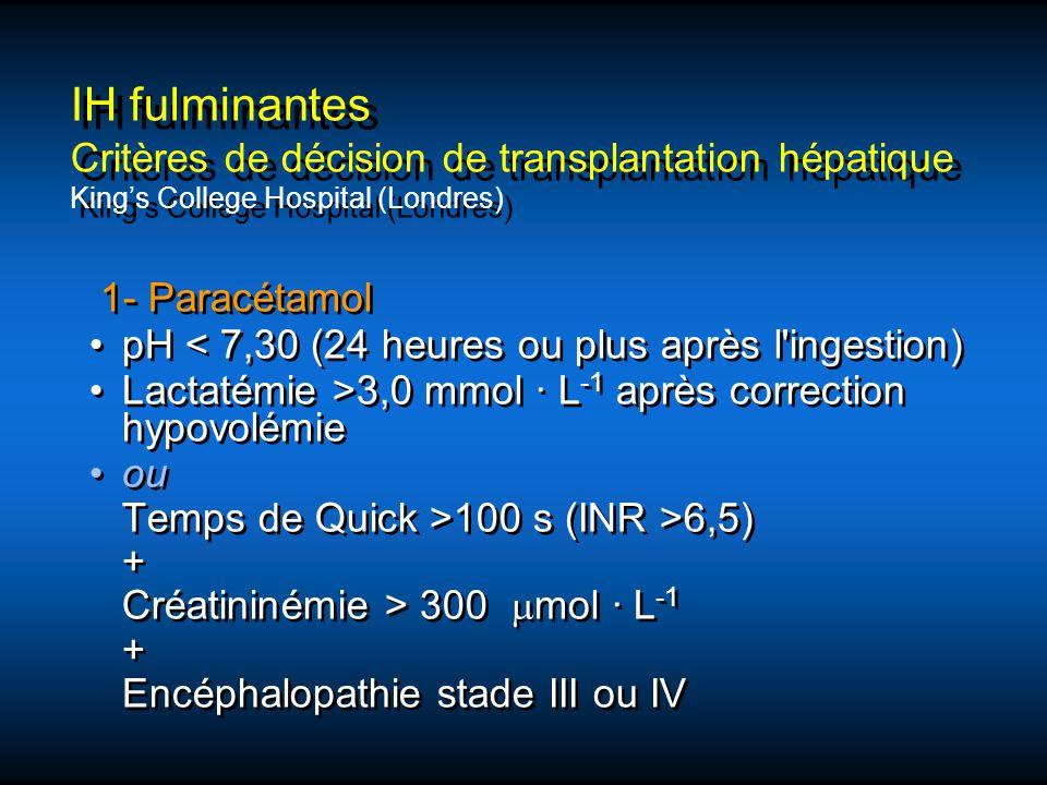 1- Paracétamol pH < 7,30 (24 heures ou plus après l'ingestion) Lactatémie >3,0 mmol · L -1 après correction hypovolémie ou Temps de Quick >100 s (INR