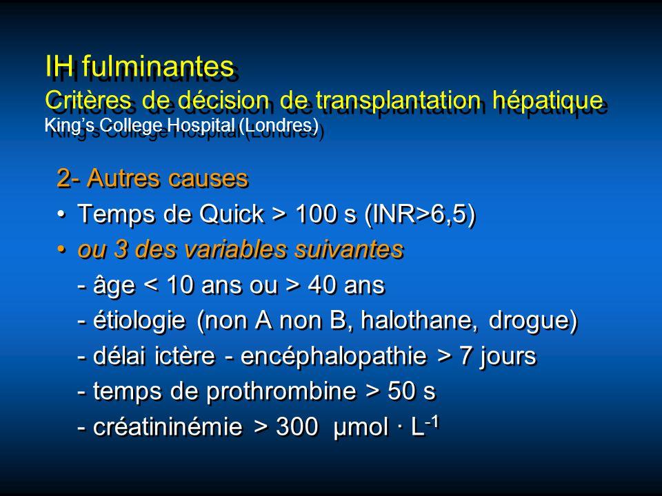 2- Autres causes Temps de Quick > 100 s (INR>6,5) ou 3 des variables suivantes - âge 40 ans - étiologie (non A non B, halothane, drogue) - délai ictèr